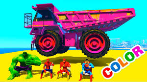 Learn Color Dump Truck With Bus& Jetski W Fun Superheroes |
