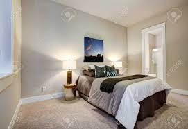 neutrale schlafzimmer design mit bad verfügt über weiche beige wände farbe farbe schokolade braun bettwäsche passenden geometrischen muster kissen