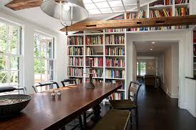 Fabulous Farmhouse Style Dining Room With Built In Bookshelves The Background Design