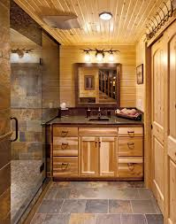 faux slate tile shower bathroom rustic with wood ceiling chrome