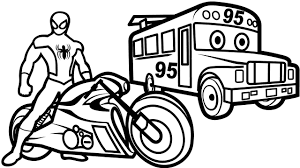 Spiderman Motorcycles On Bus Lightning Mcqueen Coloring Pages Book