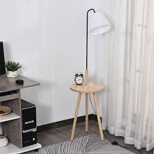 homcom stehle fürs wohnzimmer natur schwarz weiß 42 x 42 x 144 cm bxtxh lentisch stehleuchte wohnzimmerle le