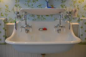 Trough Bathroom Sink With Two Faucets Canada by Trough Bathroom Sink And Vanity White Trough Sinks On Top Of