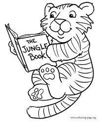 A Cute Baby Tiger Reading Book Coloring Page