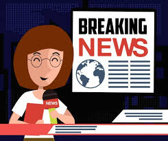 Breaking News Background Reporter Icon Colored Cartoon