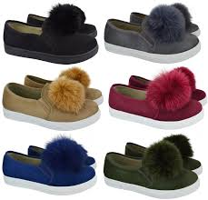 womens ladies pom pom loafers style suede trainers pumps flat heel