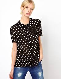 boutique by jaeger polka dot blouse in white lyst