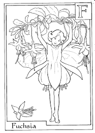 Letter F For Fuchsia Flower Fairy Coloring Page
