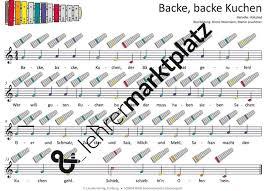 backe backe kuchen mp3 dateien noten für klavier melodica gitarre und verschiedene glockenspiele unterrichtsmaterial im fach musik