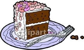 Slice Double Layer Chocolate Birthday Cake Royalty Free Clipart Picture