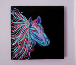 Horse Painting On Canvas Teen Art Girls Rainbow Decor