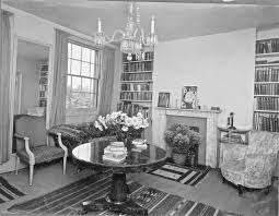 Small Living Room From The Late 1920s With Central Small Chandelier