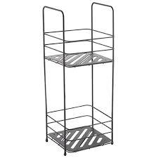badregal mit 2 ablagen badezimmerregal standregal küchenregal aufbewahrung metall schwarz matt msv