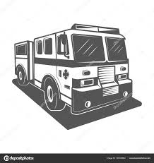Fire Truck Vector Illustration In Monochrome Vintage Style — Stock ...