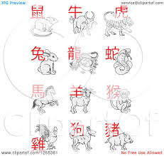 Chinese Zodiac Coloring Pages Royalty Free Clipart Illustration Of New Year Animals