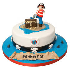 Pirate Birthday Cake Round Blue White 2 Tier Cake With Pirates And Treasure Ornament Top