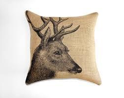 Deer Pillow Burlap Cushion Rustic Decorative Throw