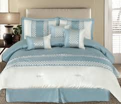 King 7pc Andrea Light Blue Luxury Bedding Set Lyle