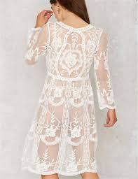 white lace long sleeve knee length loose beach dress uniqistic com