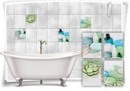 fliesen aufkleber spa wellness seife gurken handtücher grün