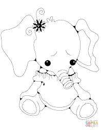 Click The Stuffed Elephant Girl Coloring
