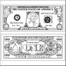 Clip Art Dollar Bill Outline B&W I abcteach