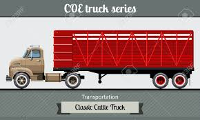 100 Truck Tractor Classic COE Cab Over Engine Cattle Trailer Vector
