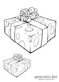 Gift Box With Ribbon Coloring Page