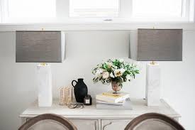 Light Gray French Buffet Cabinet With Elte Marble Column Table Lamps