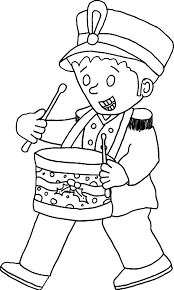 Drummer Boy Wear Officer Uniform Colouring Page Coloring