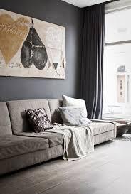 farbideen wohnzimmer dunkelgraue wand polstersofa haus