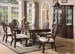 TABITHA FORMAL PEDESTAL DINING ROOM SET 8 PIECE CHERRY BUFFET