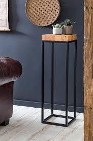 kadima design beistelltisch 30 x 97 x 30 cm akazie metall