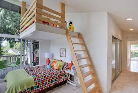 Contemporary Kids Bedroom With Ladder High Ceiling Carpet Loft Your Zone Color