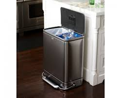 Small Bathroom Trash Can With Lid by Simplehuman 55l Stainless Steel Bar Recycler U0026 Trash Can