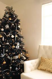 Refined Black Christmas Tree With Striped Ribbon Silver And Gold Ornaments