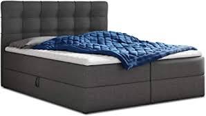 boxspringbett best mit 2 bettkästen doppelbett mit bonell matratze und topper polsterbett bett bettgestell stilvoll schlafzimmer graphit
