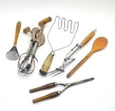 vintage 6 pc lot of kitchen utensils wood handles potato masher
