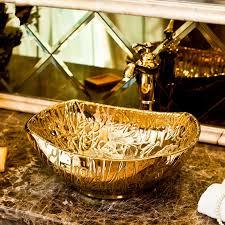 gold oval porzellan handgemachte chinesische sanitär keramik kunst handwaschbecken badezimmer waschbecken gold farbe