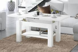 design couchtisch tisch astoria weiß matt stufenlos höhenverstellbar 57 69cm ausziehbar 110 150cm mit ablagefläche esstisch