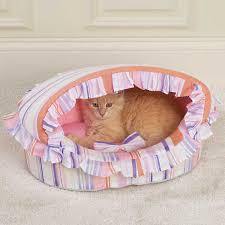 Fancy Ruffled Pink Stripe Canopy Cat Bed – POSH PET PLACE