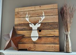 Deer Head Pallet Stag Art Rustic Antler Wood