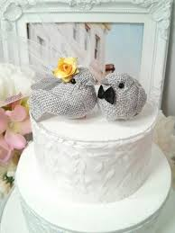 SMALL Wonderful Rustic Burlap Yellow And Grey Bird Wedding Cake Topper Or Anniversary 2295341