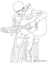 Justin Bieber Playing Guitar Coloring Page More Famous People Sheets On Hellokids