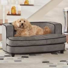Dog Sofa Elevated Pet Cat Bed Fancy Tufted Brown Plush Couch