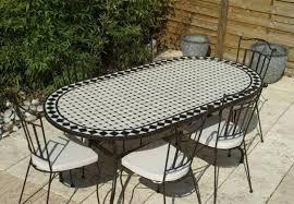 table ronde mosaique fer forge table jardin mosaique ovale 200cm céramique blanche losange en
