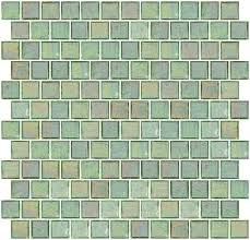 inch clear green iridescent glass tile reset in offset layout
