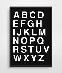 Digital Print Alphabet Scandinavian Minimalism Typography Letters Office Studio Poster Simple Black White Canvas Painting