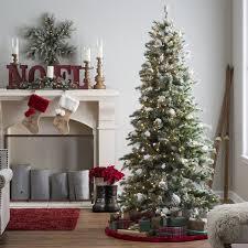 Hayneedle Flocked Christmas Trees by 7 5 Ft Pre Lit Flocked Monteray Pine Christmas Tree With Snow