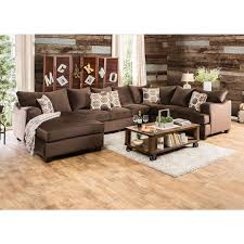 American Freight Living Room Tables by Furniture Of America Wessington U Shaped Sectional In Chocolate